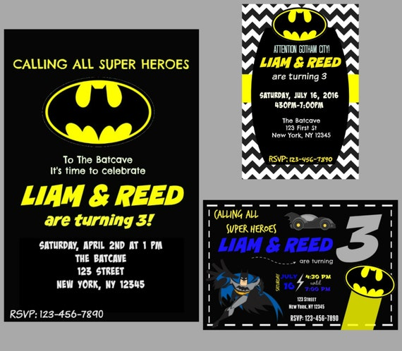 Custom Batman Birthday Invitations Digital Print Invite