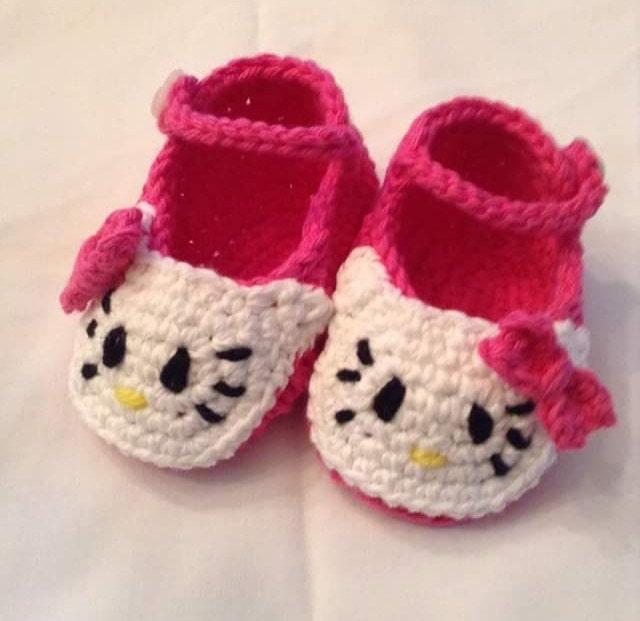 Hello Kitty Crochet Shoesslippers Newborn Infant Shoes Etsy