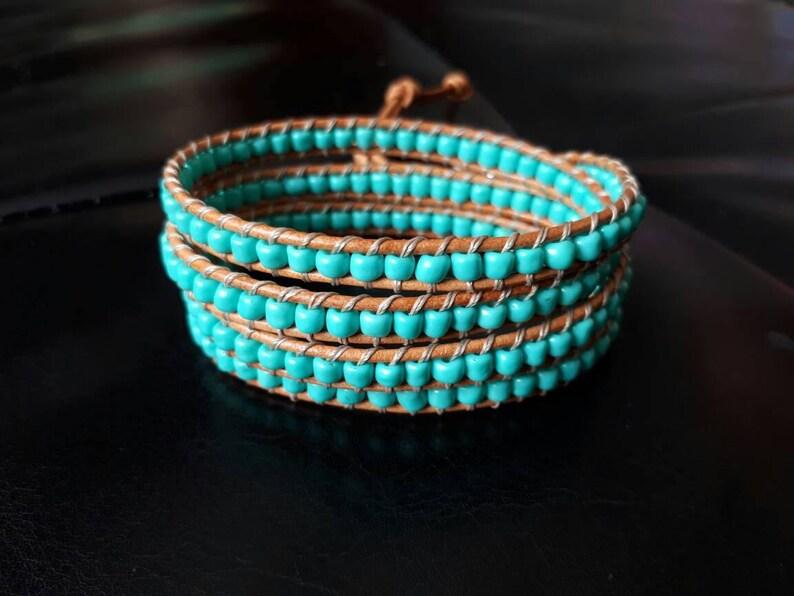 0cf065dde Wrap bracelet turquoise leather wrap tiffany blue   Etsy