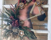 Autumn Wood Flower Horse Head Wall Art or Door Hanger - Thanksgiving Welcome Home Entry Way Equine Wreath