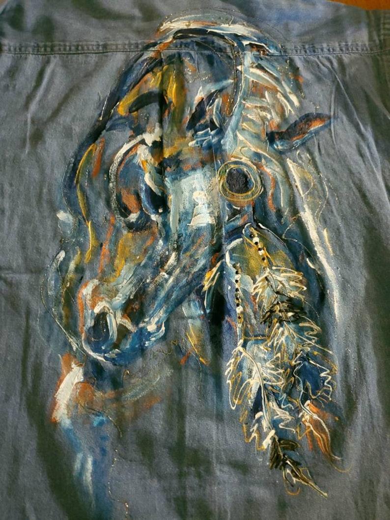 Hand painted feather horse shirt Navajo apache Cherokee horse shirt Indian horse jacket Denim horse jacket