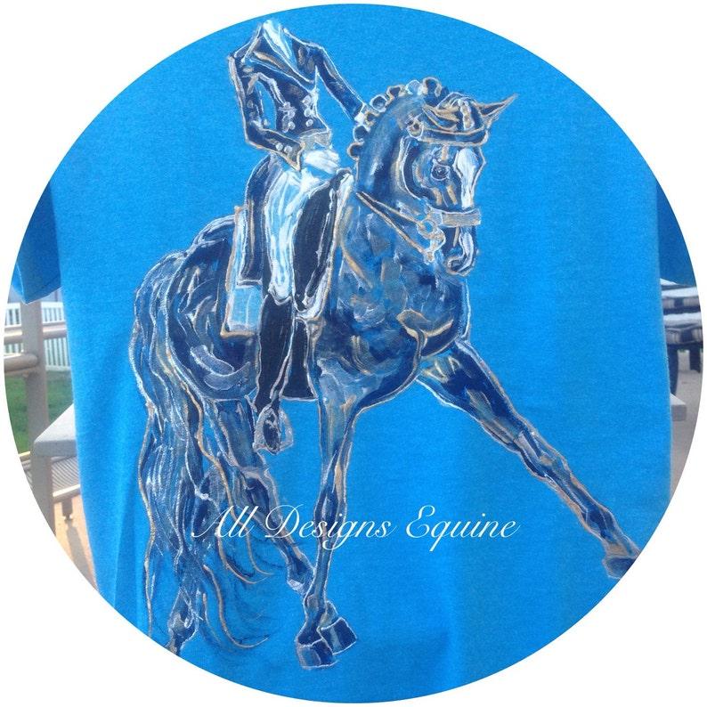 Ladies dressage shirt BEST SELLER Blue Heaven horse shirt collection Blue horse polo Hand painted horse T shirt