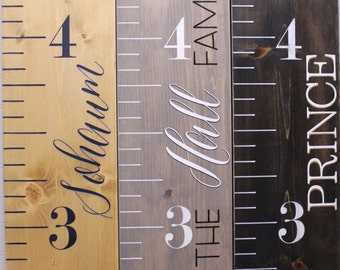 Wood Growth Chart Ruler Painted, Personalized Kids Measuring Stick