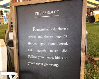 Baseball Sign - Wood Book Page Sign - Wood Quote Sign - The Sandlot Quote - Free Shipping