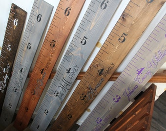Wood Growth Chart Ruler Hand Painted - Kids Measuring Stick