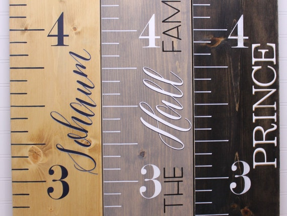 Wood Growth Chart Ruler Painted Personalized Kids Measuring Etsy