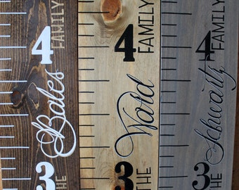 Wood Growth Chart Ruler Hand Painted