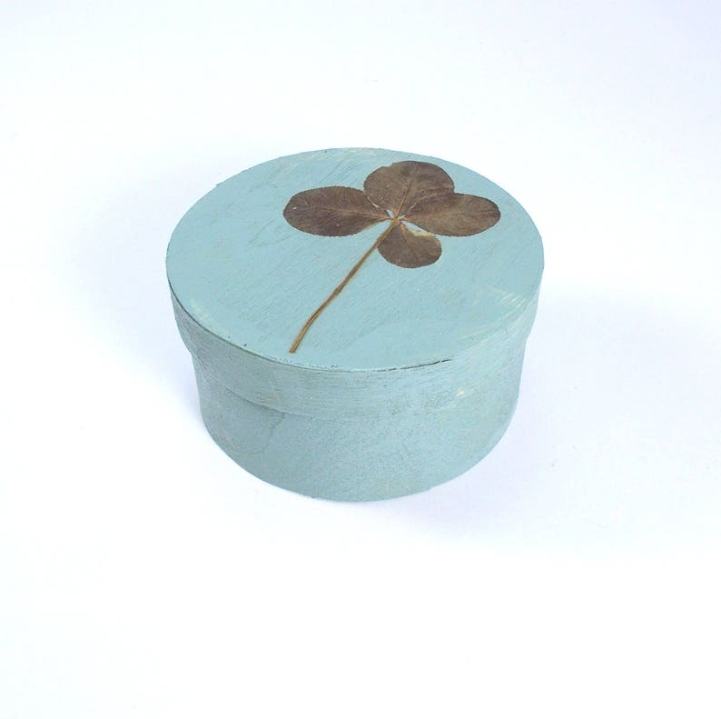 Clover gift box Genuine four leaf clover decor Lucky charm wooden box good luck gift engagement ring box birthday gift box S-012