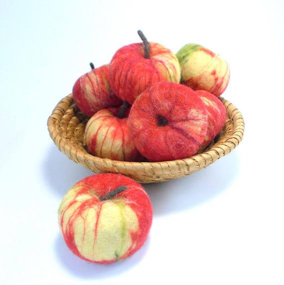 Real Size Felted Apple Home Decor Felted Play Food Kitchen Etsy