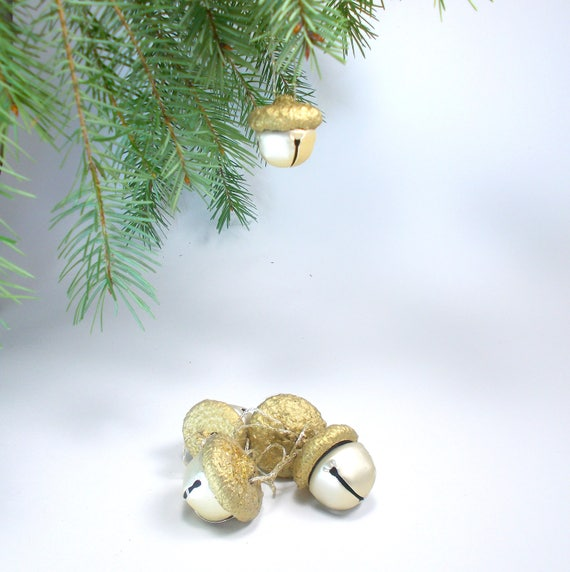 Set Of 4040 Large Jingle Bells Acorn Ornaments Gold Etsy Stunning Large Christmas Bells Decorations