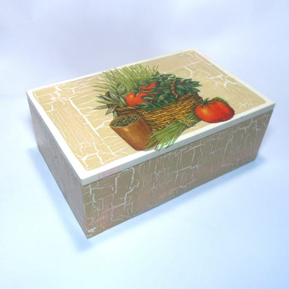 Decoupage wooden box candy box shabby chic romantic kitchen box handmade,  vintage look, unique, matching pair to salt container, herbs
