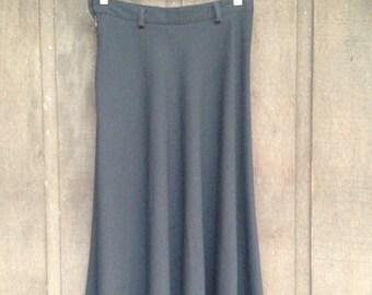"Vintage 1950's Skirt / High Waist / Fit and Flare / Bias Cut / Black / Size Medium / 29""waist"