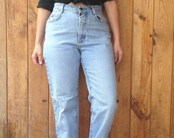 """1990's Women's Rider Jeans / Tapered Leg - Slim Fit / High Rise Waist / Light Blue / 13 Med / 31""""W x 31""""L / Made in USA"""