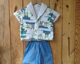 1960's Toddler's Beach Cover-up Jacket & Pants Outfit / Sear's / Short Sleeve Terry Cloth Jacket / Size 3-4