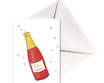 Folded thank you card champagne, white envelope.