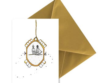 Married in watch folded card, envelope gold