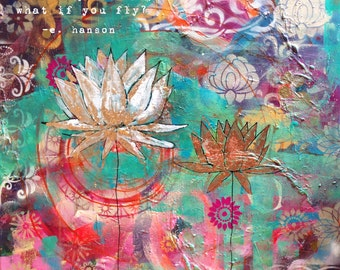 what if I fall quote, Erin Hanson, what if you fly, lotus wall art, lotus flower decor, yoga painting, yoga wall art, yoga artwork, yoga art