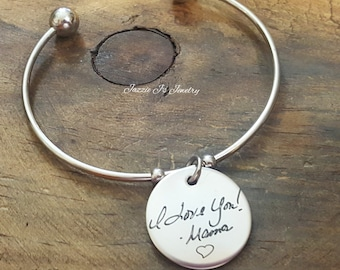 Handwritten Bangle, Handwriting Jewelry, Engraved Handwriting, Personalized Gift, Signature Jewelry, Handwritten Engraving, Gift For Her