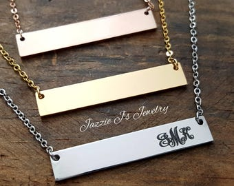 Simplistic Dainty Monogram Bar Necklace, Gift for Her, Engraved Monogram Jewelry, Personalized Minimalist Jewelry, Gift for Her, Mothers Day