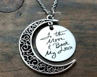 Actual Handwriting Necklace, To The Moon and Back Necklace, I Love You To The Moon & Back Necklace, Gift for Her, Crescent Moon Necklace