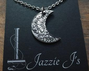 Mandala Jewelry, Mandala Moon Jewelry, Gift For Her, Crescent Moon Necklace, Mandala Necklace, Engraved Jewelry, Handmade Jewelry, Moon