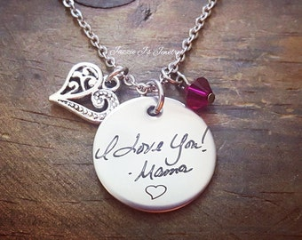 Handwritten Necklace, Handwriting Jewelry, Engraved Handwriting, Personalized Gift, Signature Jewelry, Handwritten Engraving, Gift For Her