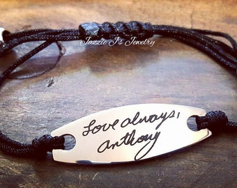 Handwritten Adjustable Bracelet, Handwriting Jewelry, Engraved Jewelry, Father's Day, Signature Jewelry, Actual Writing, Mothers Day