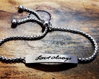 Actual Handwritten Bolo Bracelet, Handwriting Jewelry, Engraved Handwriting, Adjustable Bolo Bracelet, Signature Jewelry, Gift For Her