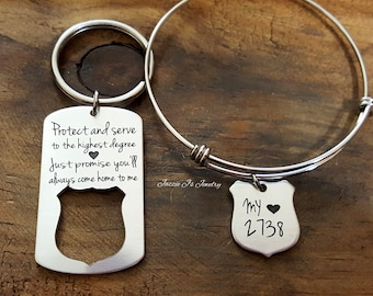 Protect and Serve Police Badge Keychain &/or Necklace, Engraved Police Officer Gift, Police Officer/Wife Gift