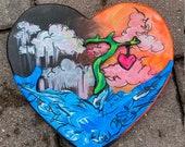Wood wall hanging art/ hand cut / hand painted wall decor / original art / wooden heart