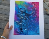 Petey 8x11 print, 11x14 full mat size DXE original work, signed by artist
