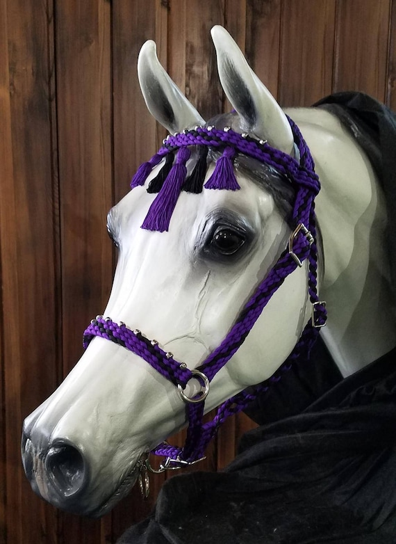 PURPLE//BLACK Braided Nylon Bit Less Bridle with Reins NEW HORSE TACK!