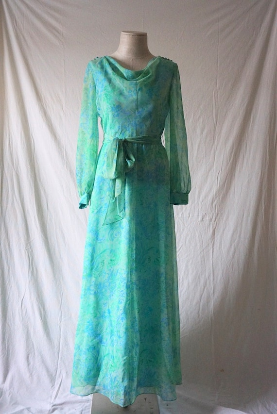 Green 70s Nat Kaplan watercolor floral dress with