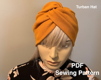 Turban Sewing Pattern Headwrap PDF Pattern Turban hat Sewing pattern and Tutorial Two Adult sizes PDF Sewing Pattern DIY Turban Pdf Pattern