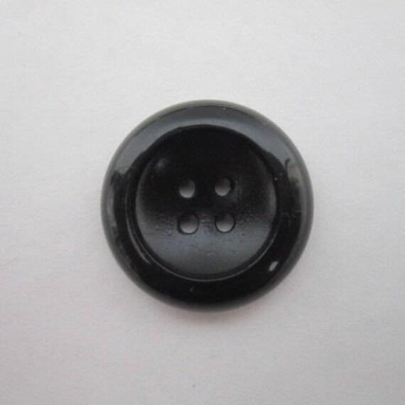 Large 25mm 40L Matt Black /& Grey Striped Quality 4 Hole Coat Craft Buttons S28