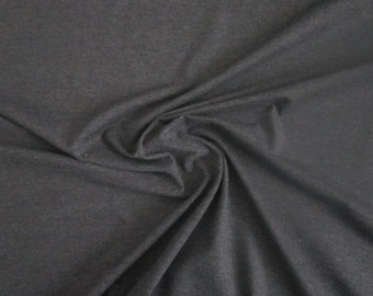 Charcoal Cotton Jersey Knit Fabric by the Yard Dark Grey Cotton Knit Stretch Jersey Fabric Clothing Apparel Fashion Fabric Knit