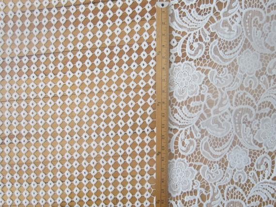 Tissu dentelle blanche par la Cour coton Suisse Suisse coton blanc cordon dentelle fleur bordure dentelle tissu mariée mariage robe dentelle tissu robe d'été 53f10c