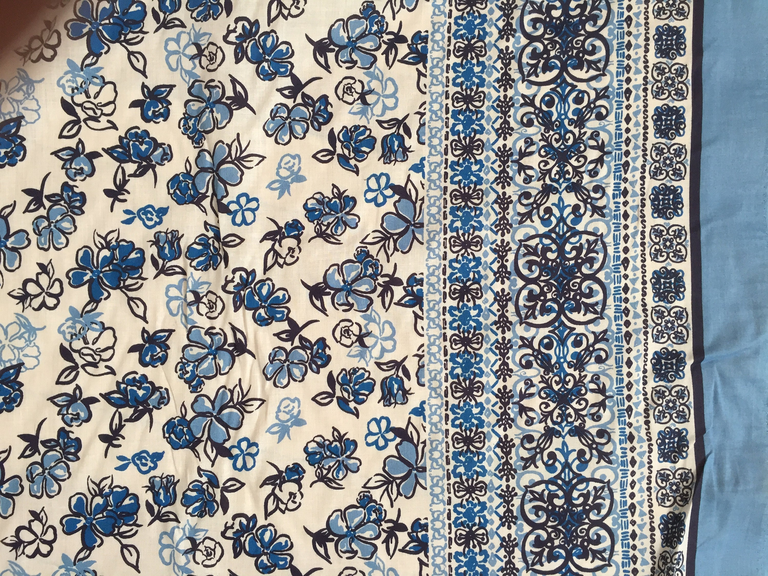 Border Print Cotton Fabric By The Yard Blue Amp White Floral