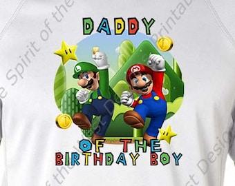 Daddy of the Birthday Boy Super Mario Brothers T-shirt Printable Digital Download Mario Luigi Princess peach Yoshi Koopa party Favour