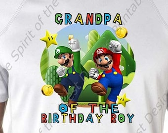Grandpa of the Birthday Boy Super Mario Brothers Printable Party IMAGE Use as Iron On T-shirt Transfer Clip Art DIY Instant Download