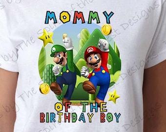 Mommy of the Birthday Boy Super Mario Brothers T-shirt Printable Digital Download Mario Luigi Princess peach Yoshi Koopa party Favour