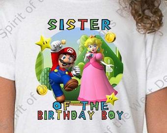 Sister of the Birthday Boy Super Mario Brothers T-shirt Printable Digital Download Mario Luigi Princess peach Yoshi Koopa party
