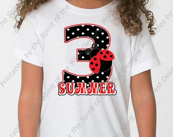 67124448 Personalized Third Birthday Girl Iron On Ladybug shirt Party Polkadot T- shirt Transfer Printable Digital Download clip art DIY scrapbook