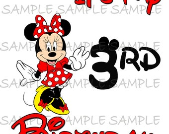 My Third Birthday Minnie Mouse IMAGE use as clip art or print on Iron on transfers Mouse Ears Printable Disney Shirt Party T-shirt Download