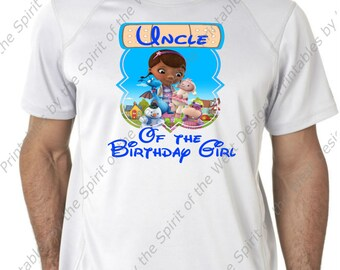 Uncle of the Birthday Girl Doc McStuffins Iron On Disney T-shirt Printable Digital Download Dottie Hattie the Hippo party Favour