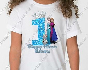 First Birthday Girl Frozen Shirt Iron On T-shirt Transfer Printable Customize Digital Download Elsa Anna Olaf Party Favor clip art