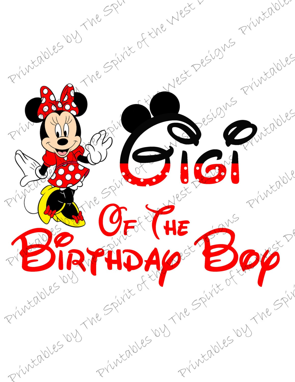 Gigi of the Birthday Boy Minnie Mouse Iron on IMAGE Mouse Ears | Etsy