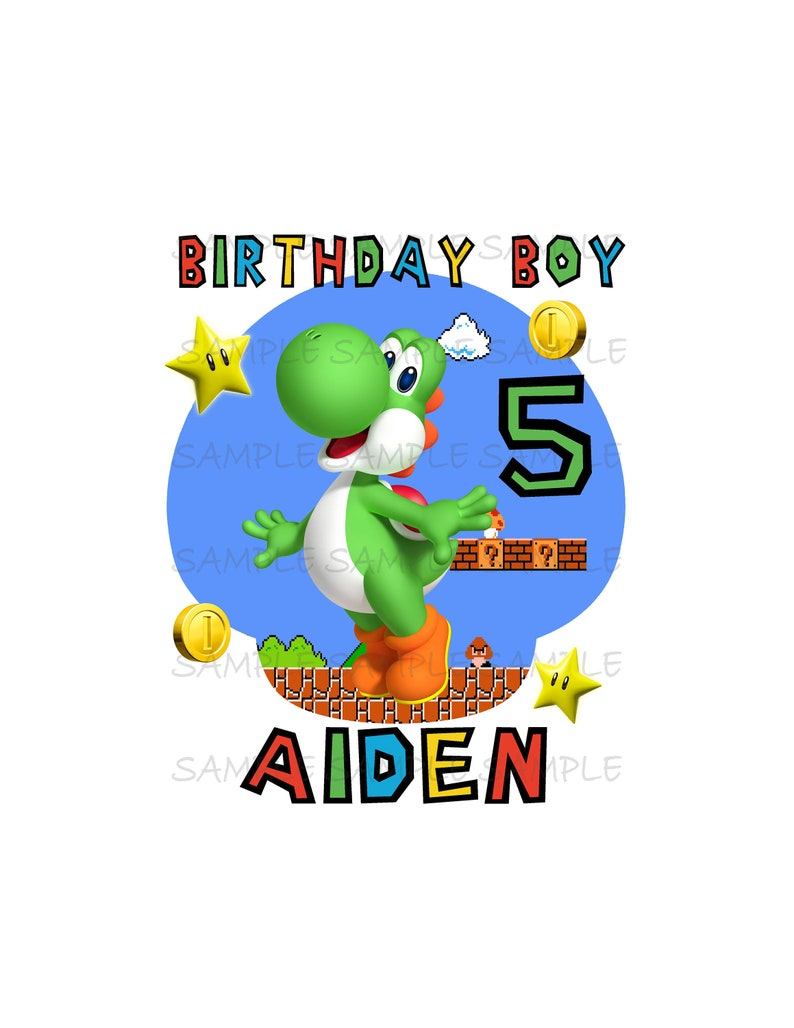 Birthday Boy Super Mario Brothers IMAGE Use as Printable Digital Download  Mario Luigi Princess peach Yoshi Koopa party