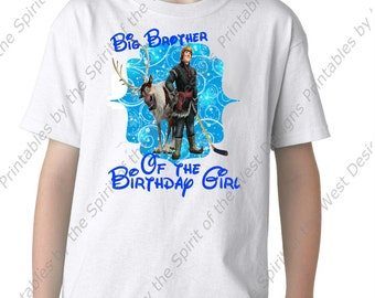 Big Brother of the Birthday Girl Iron On Disney Frozen Theme T-shirt Transfer Printable Digital Download Elsa Anna Olaf party Favour DIY