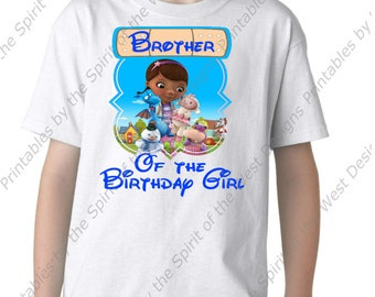 Instant Download Brother of the Birthday Girl Doc McStuffins Iron On Printable Digital Download Dottie Hattie the Hippo party Favour